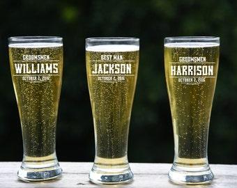 10 Personalized Beer Glasses, Custom Engraved Pilsner Glass, Wedding Party Gifts, Gifts for Groomsmen, 16oz Glasses, Groomsmen Gift, Laser