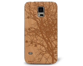 Laser Engraved Autumn Fall Tree Silhouette on Genuine Wood phone Case for Galaxy S5, S6 and S6Edge S-040