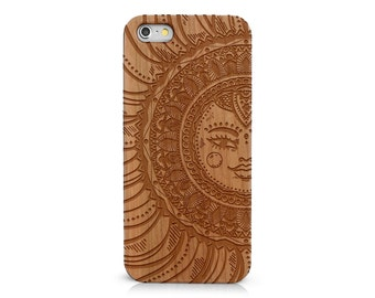 Laser Engraved Doodle Zentangle Inspired Mandala Tribal Sun Goddess Flower Pattern on  Genuine Wood Cell phone Case for Apple iPhone  IP-061