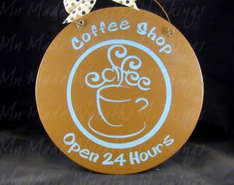 Coffee Shop Sign, Kitchen Sign, Coffee Lovers Sign, Brown and Blue Kitchen Sign, Kitchen Wall Sign, Coffee Bar Sign, Kitchen Decor