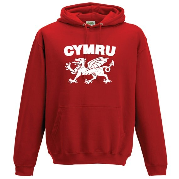 Wales Cymru with Welsh Dragon Hooded Sweatshirt. Quality sweatshirt the perfect Rugby World Cup gift or present