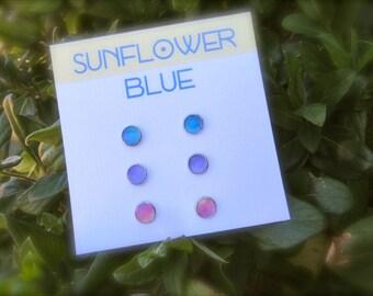 Mini Earring Sets- Watercolor Earrings- Blue Earrings- Purple Earrings- Pink Earrings- Little Girl Earrings- Mini Studs- Minimalist Earrings