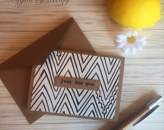 Blank card set if 6- Just for you, black Nd ivory zig zag, cork, retro cards