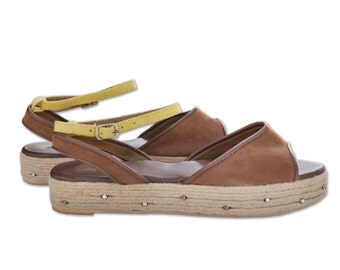 Corde, Peep Toe Sandals,   Braided Flatform Shoes, Classic Women's Sandals, Leather Espadrille Sandals