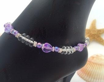 Ankle Bracelet Anklet Crystal Anklet Lavendar Anklet Foot Jewelry Beaded Anklet Purple Anklet Ankle Beach Jewelry (ank-33)