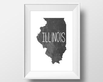 Illinois State Black Chalkboard Printable Art, Illinois Print, Illinois Art, Modern Art,