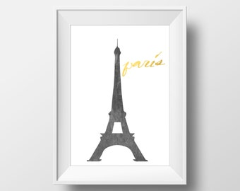 Paris Eiffel Tower Gold Print, Paris Printable Art, Eiffel Tower Print, Eiffel Tower Art, Paris, Eiffel Tower