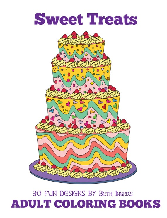 Adult coloring books sweet treats 30 designs adult colouring for Sweet treats coloring pages