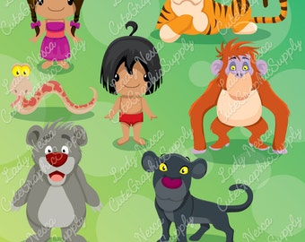 Jungle clipart, jungle animal clipart, orangutan, monkey, tiger, bear, snake LN0139