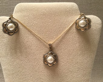 Vintage Pearl and CZ Set - Necklace and Earrings - Gold Plated Sterling Silver 925