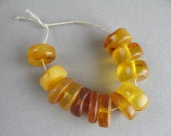 Antique amber beads, Natural amber, Braun amber, Yellow Amber, Amber discs