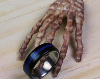 Handmade Ring With Stainless Steel Insert  (Black With Blue Stripe)