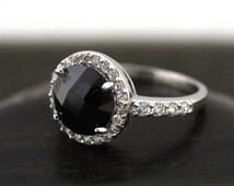 Sterling Silver Black Stone Ring, Sterling Silver Black Spinel Ring, Black Stone Ring, Round Black Spinel Stone  Ring, Black Stone