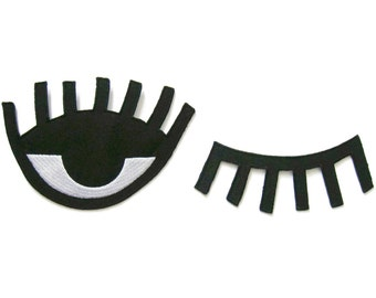 Set of 2 pcs Eye Patch Embroidered Applique Iron on Patch