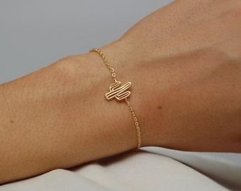 Cactus bracelet - Gold little cactus pendant chained bracelet