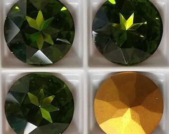 1201 RARE Olivine Swarovski Austrian Crystal 17mm foil back (2)