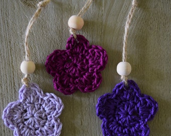 Flowers/Star ornaments Decoration Hangers Rope Wooden bead Purple
