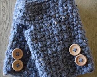 Dark blue Fingerless Gloves Wrist warmers with Wooden Buttons
