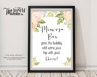 Bridal Shower Mimosa Bar Sign - Floral Watercolor - NICOLE Collection - Floral Mimosa Bar Sign - Printable Mimosa Bar