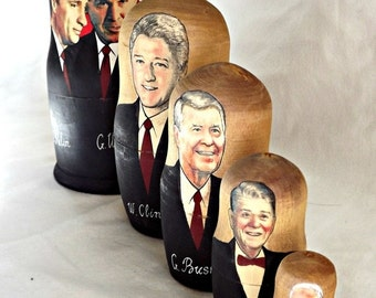 ON SALE US President Nesting Dolls, Russian Stacking Dolls, Matryoshka, Retro Presidential Stacking Dolls, Home Decor, Made in Russia