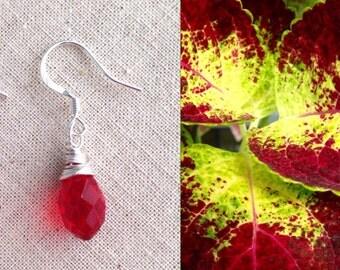 Sale, Red Briolette Earrings, Ruby Earrings, Drop Earrings, Crystal Earrings, Wire Wrapped Earrings, Red Crystals, July Birthstone, Handmade