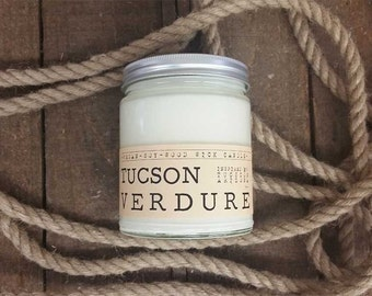 Tucson Verdure Wood Wick Candle - Vegan Candle, Soy Wax Candle, Hemp Scented Candle, Cactus Candle, Wood Wick Candle, Phthalate Free Candle