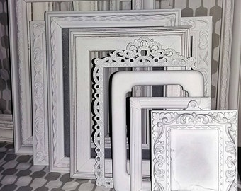 Distressed White Frames Set/ Shabby Chic Picture Frames/