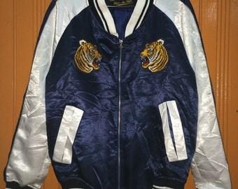 Vintage Sukajan Jacket Tiger Head Embroidered Small Size