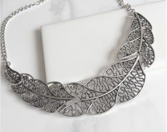 Leave Bib, Antique Silver Collar Necklace Jewelry