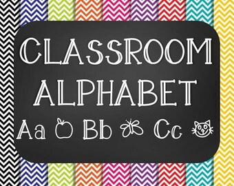 Chalkboard Classroom Alphabet ABC Poster Set - Chevron - Printable - Instant Download