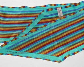 Vintage Liz Claiborne Silk Scarf, Wingtip Style in Teal Gold Blue Red Brown Stripes, Fashion Accessory