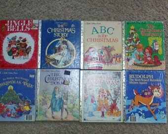 Lot of 8 Vintage Little Golden Books Hardcover Children's Books - Christmas