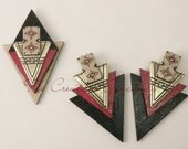 Handmade Accessories, Unique Handcrafted Jewelry, Brooch, Wooden Jewelry, Handmade Earrings, Jewelry Set, Black Earrings, Red Earrings