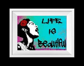Banksy Life is Beautiful poster print, Instant download, Printable art