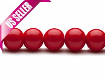 Crimson pearls 4-16mm solid-tone glass beads 4mm 6mm 8mm 10mm 12mm 14mm 16mm glass pearl beads round