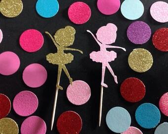 SALE 12pcs Glitter Ballerina Cupcake Toppers ( More Color )