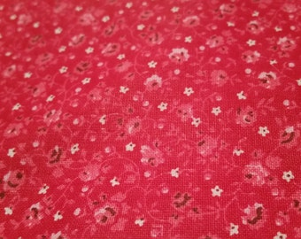Red and white calico fabric by the yard