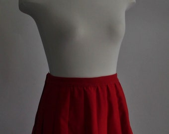 Red Pleated Skirt, 1970's Vintage Skirt,Pleats,Size Medium to Size Large