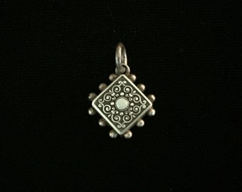 antique french ornate scroll design fob amulet