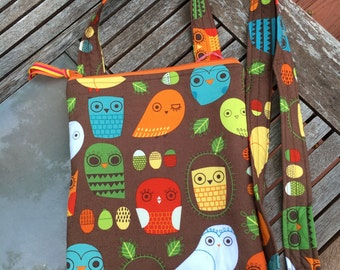 Brown Owl Crossbody Bag, Messenger Bag