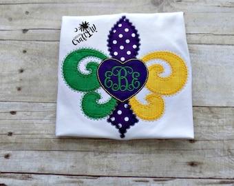 Girls Mardi Gras Shirt,Toddlers Mardi Gras Shirt,Infants Mardi Gras ,Mardi Gras Monogram,Fluer De Lis,Monogrammed,Embroidered,Appliqued