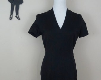 Vintage 1950's Black Wiggle Dress / 50s Day Dress S