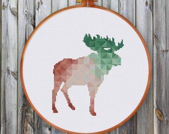 Geometric Moose, spring minimalist cross stitch pattern, mountain house wall hanging, modern cross stitch pattern, modern moose cross stitch