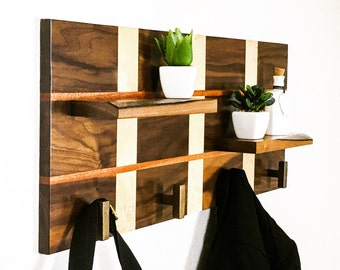 Handcrafted Wood Coat Rack, Modern Coat Rack, Coat Rack Stand, Wall Coat Rack, Wall Hooks, Entry Way Hooks, Entry Way Organizer
