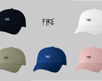 Dad Hat Baseball Cap Embroidered FIRE