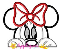 Disney Inspired Minny Peeking Face Applique Embroidery Machine Design 4 sizes Instant Download