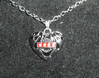 Biker Heart  Flames with Cz necklace