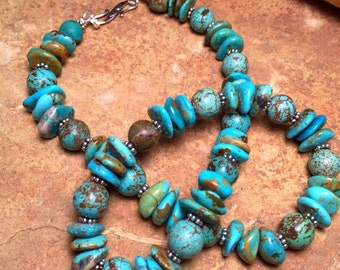 Genuine Turquoise Necklace - Real Turquoise Necklace - Statement Necklace - Southwestern Jewelry - Southwest Necklace - Turquoise Jewelry