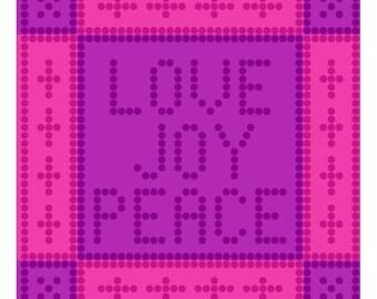Love Joy Peace Bobble Stitch Graph Pattern - 85 x 85