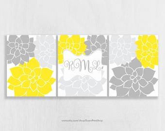 Nursery Wall Art Print Set of 3 - Yellow and Gray Nursery - Flower Art Prints - Monogram Art Prints - Wall Art for Girls - Dorm Room Art